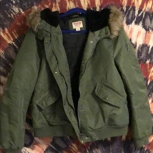 Mossimo Supply Co. Army Green Puffer w/ Faux Fur
